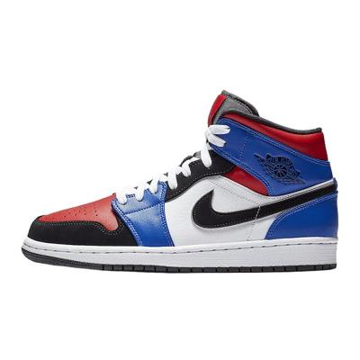 耐克男鞋 Nike Air Jordan 1 Mid AJ1 黑紅腳趾鴛鴦拼接扣碎籃板黑曜石芝加哥湖人男士中幫籃球鞋
