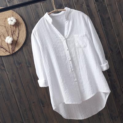 樵JIAO2020春新品棉長袖襯衫白襯衫女式休閑襯衣新款清新純色V領打底衫卷袖上衣