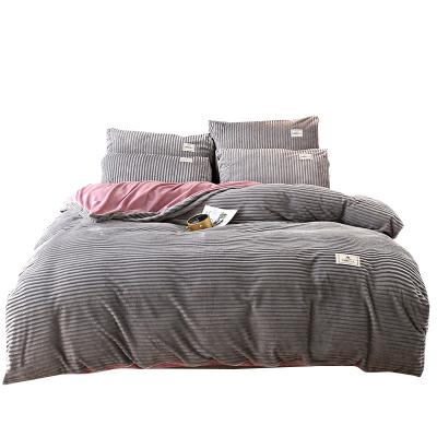 玛迪瑞娜家纺 网红款双拼AB版法兰绒四件套珊瑚绒魔法绒水晶绒加厚保暖床单被套床上用品YD