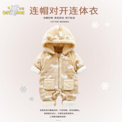 优简秋冬婴儿加厚连体衣新生儿衣服秋冬季外出服连帽保暖衣