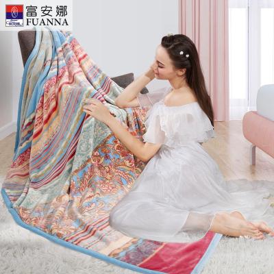 富安娜家纺 圣之花厚毛毯子冬季法兰绒毯沙发毯午睡盖毯夏日迷情/威尼斯之夜/煦日暖风/玫瑰之约
