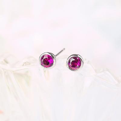 蒂美拉 T043-E天然巴西紫牙乌石榴石圆形时尚经典款耳钉