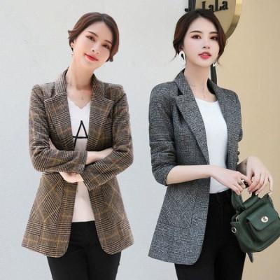 沐灃小西裝外套女2020新款復古英倫風網紅休閑韓版春秋格子西服女外套
