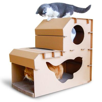 梦想猫 双层猫抓板 瓦楞纸猫窝猫玩具 大号猫抓板猫窝猫磨爪器板猫房子猫咪用品 双层猫抓板房子