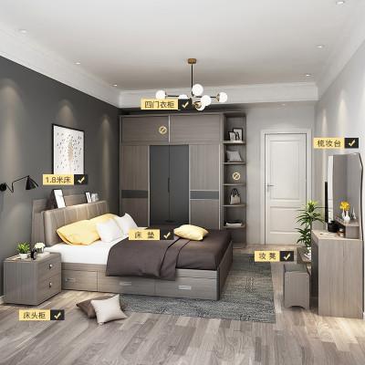 【套房】木月 現代簡約臥室套房家具 雙人床衣柜(不含頂柜、轉角柜)梳妝臺北歐六件套組合 雅致系列