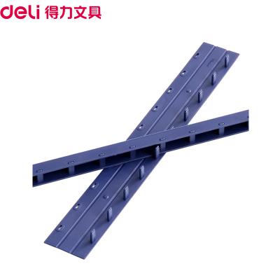 得力(deli)3827 10mm装订夹条蓝色100/支盒 10孔装订夹 装订押条 压边条 胶圈装订夹边条 塑料夹条