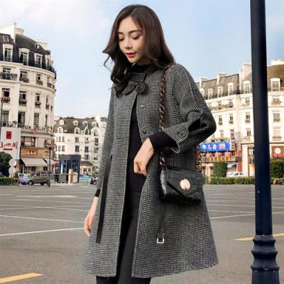 班俏BANQIAO2020春秋流行新款赫本風氣質大衣中長款小個子千鳥格子毛呢外套女