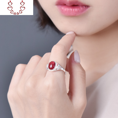 紅瑪瑙戒指女999純銀祖母綠玉髓鑲嵌指環復古開口寶石戒子送媽媽 Chunmi