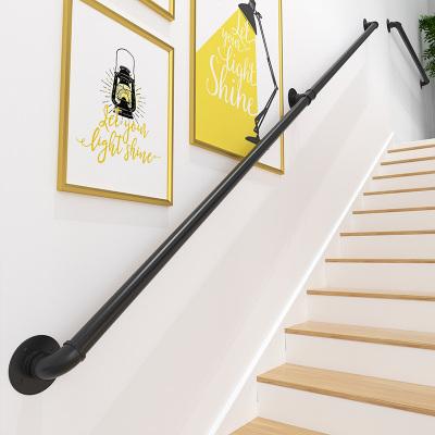 樓梯扶手現代簡約家用鐵藝水管室內閣樓靠墻老人防滑扶梯幼兒園拉 長120離墻高7cm