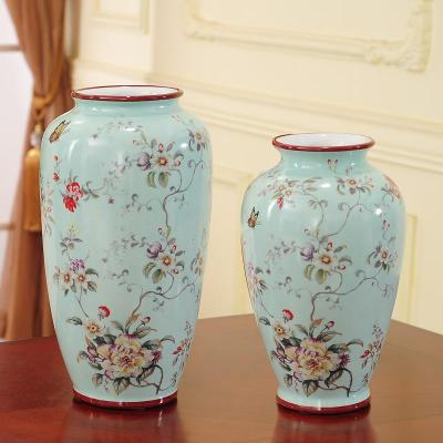 (不含花)一對,淺綠富貴花 美式陶瓷花瓶家居飾品擺件花器中式復古客廳玄關花幾花插喬遷送禮【定制】