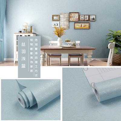 墻紙自粘 溫馨客廳家用臥室壁紙閃電客3D立體歐式背景墻加厚10米 絲羽-藍-10米 僅墻紙