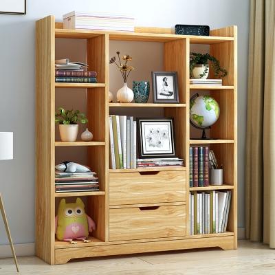 书柜书架简约现代柜子置物架自由组合格子柜带门书橱储物柜组合柜 B款红叶枫木 0.8-1米宽