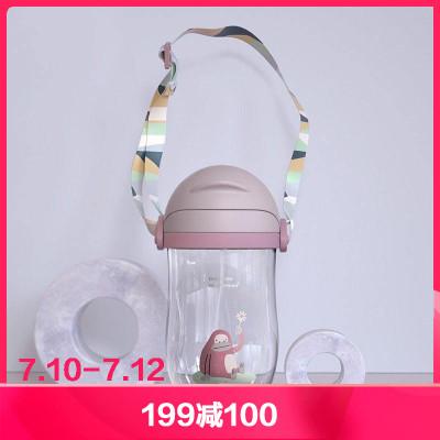 babycare兒童水杯 幼兒園寶寶防漏防嗆吸管杯帶重力球學飲杯 暮色紫360ml 2718