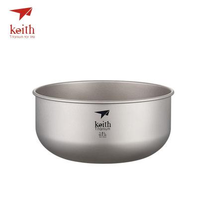 keith铠斯纯钛饭碗 户外野营大号泡面碗餐具汤盆沙拉碗家用钛碗Ti8701