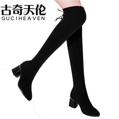 Guciheaven/古奇天倫過膝長靴冬季新款女靴粗跟顯瘦彈力靴絨面高筒靴