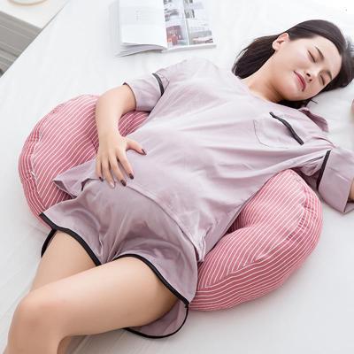 多功能全棉u型枕护腰托腹侧睡枕高弹纯棉水洗纯棉孕妇枕头