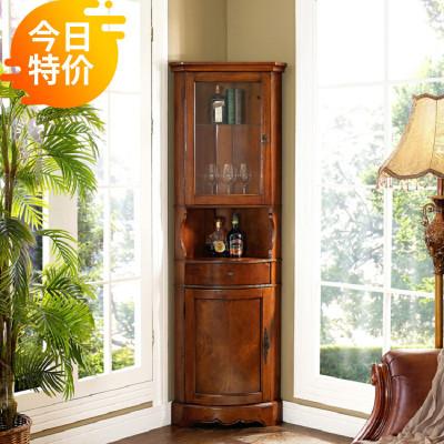 美式角柜墻角柜實木三角酒柜客廳簡約白色置物架歐式拐角轉角邊柜