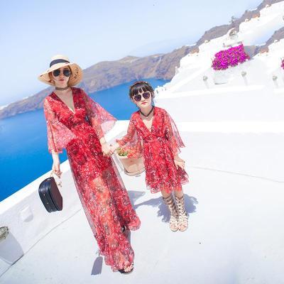 抹炫(MOXUAN)亲子装夏装2019新款潮母女装海边度假雪纺连衣裙亲子沙滩裙全家装