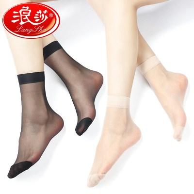 浪莎絲襪女薄款短防勾絲耐磨黑玻璃水晶絲夏季腳尖加固肉色短襪5雙