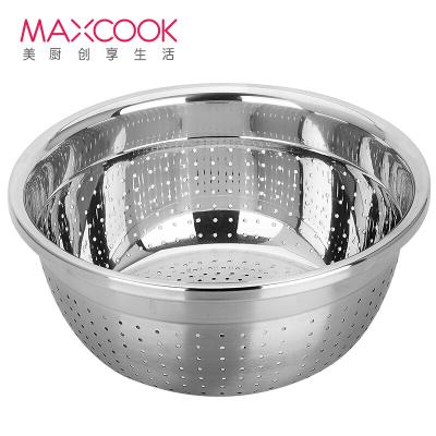 美廚(maxcook)304不銹鋼米篩菜盆 洗菜籃/盆30cm加厚加大瀝水盆淘米盆洗水果盆MCWA860