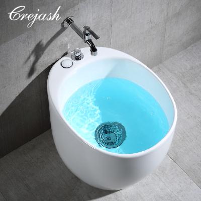 Crejash 东尼卫浴公司 拖把池陶瓷拖布池阳台墩布池双驱动拖把盆洗地拖池 配自动下水 圆形椭圆形