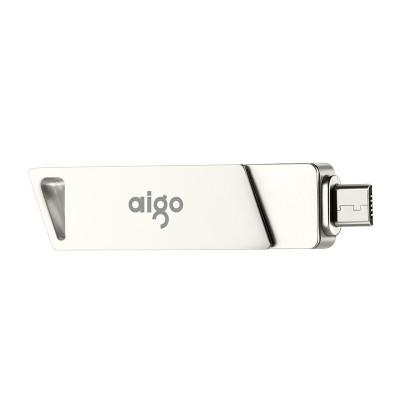 爱国者(aigo)U385 128G手机U盘 高速Micro USB USB3.0 双接口OTG 精耀系列 银色