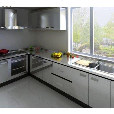 現代簡約304不銹鋼整體櫥柜定做石英石臺面灶臺廚房廚柜定制 不銹鋼吊柜 1米