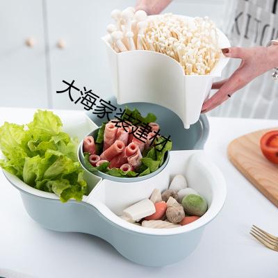 抖音同款塑料家用分格火锅蔬菜拼盘双层水果盘洗菜篮洗菜盆沥水篮 北欧粉-大号+小号
