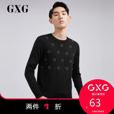 【兩件1折:63】GXG男裝 春季商場同款男士潮流黑色低領毛衫男#173120519