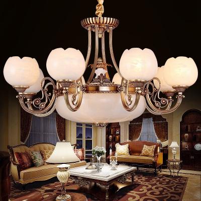 欧式云石灯客厅全铜云石吊灯欧式美式吊灯全铜高端别墅灯具定制 西班牙进口云石-3头