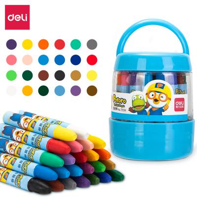 得力(deli) 72124油畫棒24色幼兒寶寶畫筆兒童蠟筆安全無毒油畫棒彩色涂色筆多色