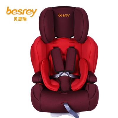 德国besrey儿童安全座椅9个月-12岁 isofix硬接口汽车安全座椅 BY1512 樱桃红