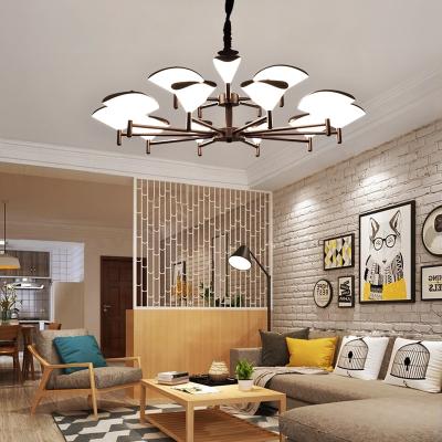 客厅灯北欧现代简约设计师大气个性创意时尚两室一厅家用吊灯 10+5头咖啡色无极调光