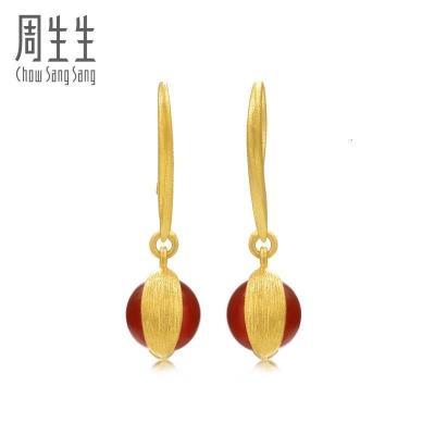 周生生(CHOW SANG SANG)足金g* 系列瑪瑙黃金耳釘耳墜女86127E 定價