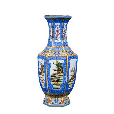 每日精進(enhancement)景德鎮陶瓷器琺瑯彩仿古花瓶中式家居客廳電視柜玄關裝飾擺件