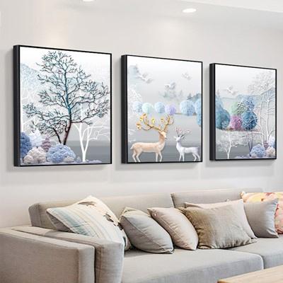 北歐客廳裝飾畫沙發背景墻壁畫古達現代簡約三聯畫臥室床 紫色 30*30此規格限購一套9mm薄板+防水布紋膜+經濟款整套價