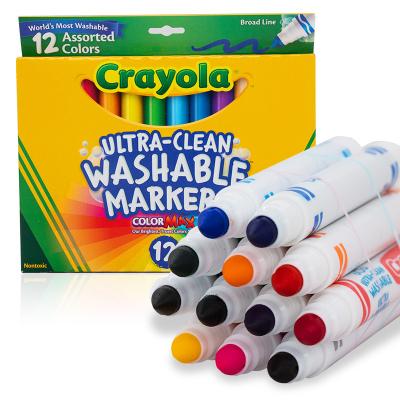 繪兒樂(Crayola)12色可水洗粗頭兒童水彩筆 繪畫工具 彩色筆 兒童文具 畫畫繪畫筆 58-7812 兒童禮物