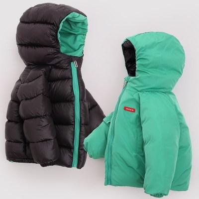 兒童羽絨服男童女童防污耐臟雙面穿寶寶冬裝保暖外套新款
