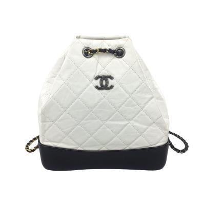 【二手95新】香奈兒Chanel Gabrielle菱格紋鏈條流浪系列黑白小號 雙肩包 女包 尺寸2