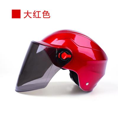 頭盔 夏季男女電動車頭盔摩托車頭盔夏盔防曬防紫外線四季半盔防雨