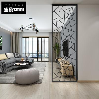 北歐鐵藝屏風入戶隔斷客廳玄關裝飾簡約現代工業風輕奢金屬鏤空墻-j15 B款黑色一平方