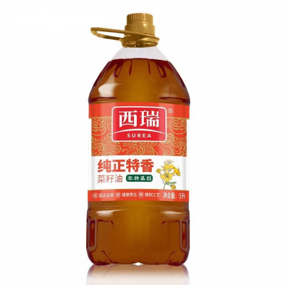 西瑞纯正特香菜籽油5L/桶 非转基因食用油 放心粮油 粮农出品