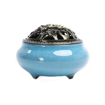 插香薰炉卧室创意檀香炉盘香炉创意陶瓷小号仿古铜盖香炉摆件-冰裂盘香炉天空蓝