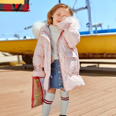 雅鹿童装女童羽绒服中长款2019新款儿童加厚韩版女孩洋气羽绒外套