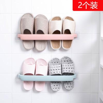 壁掛式浴室拖鞋架免打孔架子衛生間鞋架收納神器架子置物架瀝水 簡約拖鞋架2個裝顏色隨機