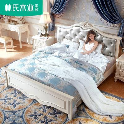 林氏木业 欧式床双人床 主卧室家具1.8米双人床简约1.5米雕花储物婚床KA162H