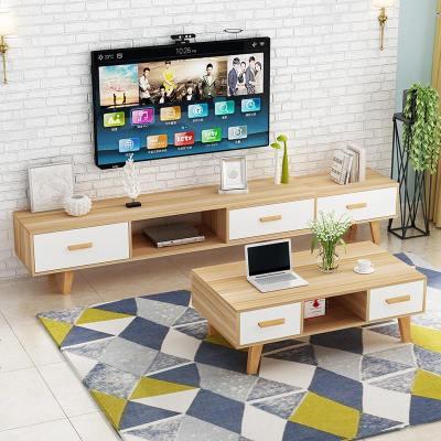 HOTBEE北歐電視柜茶幾組合客廳現代簡約小戶型臥室伸縮電視柜地柜