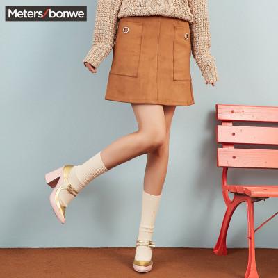 【1件3折价:43.8】美特斯邦威短裙女显瘦百搭冬装新款麂皮半身裙韩版潮商场款
