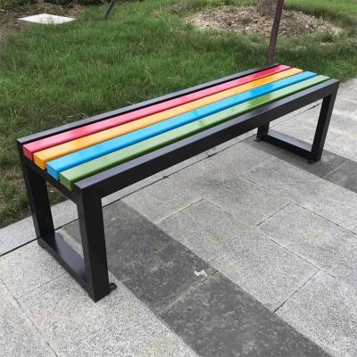 彩虹長條凳公園椅戶外CIAA長椅廣場商圈休閑長椅防銹防腐室外庭院長凳 180*40*45cm
