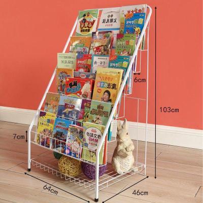 蘇寧放心購兒童小書架簡易置物架可折疊落地迷你鐵藝書報架省空間寶寶繪本架A-STYLE